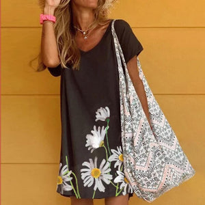 Casual Floral Short Sleeve V-Neck Mini Dress-Black-S-