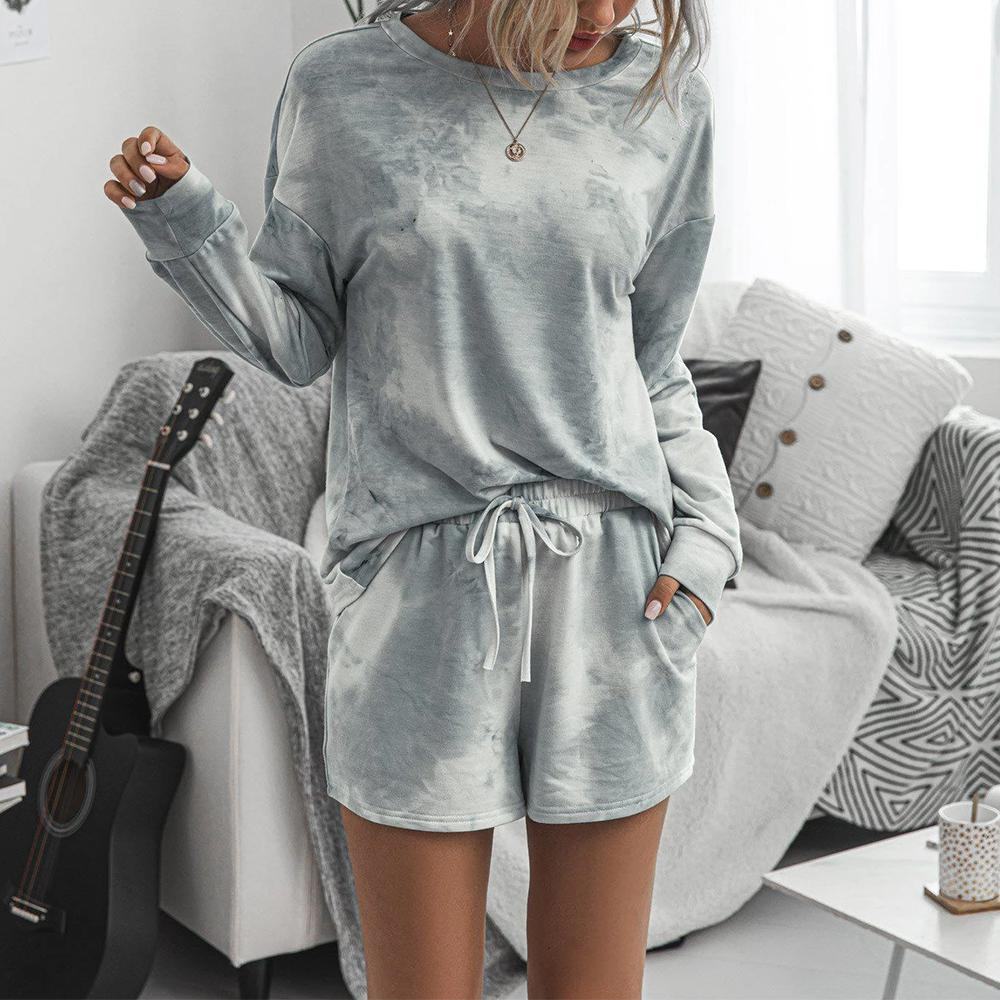 Casual Grey Round Neck Loose Top And Drawstring Lounge Shorts Set-Grey-S-