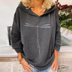 Casual Hoodie Dragonfly Print Long Sleeve Sweatshirt-Grey-S-