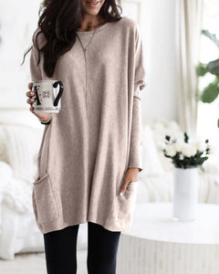 Casual Long Sleeve Pocket Pure Color Top-BEIGE-S-