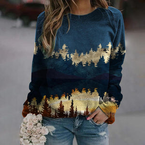Casual Long-Sleeved Print Sweatshirt-Blue-S-