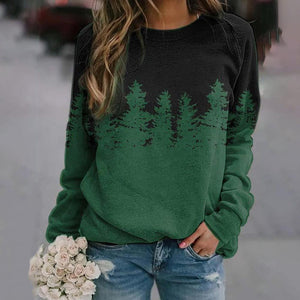 Casual Long-Sleeved Print Top-Green-S-