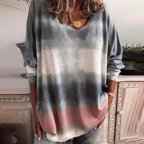 Casual Oversized Gradient Long Sleeve Top-Grey-S-