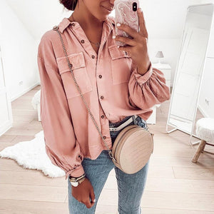 Casual Pink V-Neck Balloon Sleeve Loose Blouse-Pink-S-