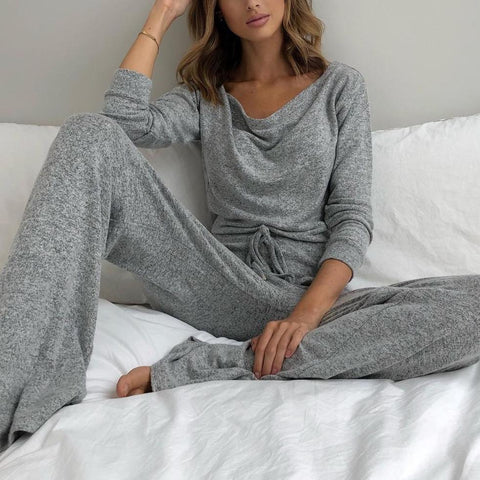 Casual Plain Cowl Neck Long Sleeve Lounge Set-Grey-S-