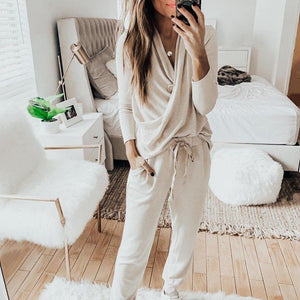 Casual Plain Crossed Long Sleeve Lounge Set-TWO PIECE-S-