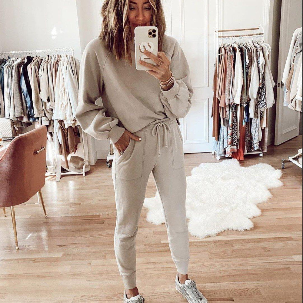 Casual Plain Long Sleeve Top And Lounge Jogger Pants Set-Apricot-S-