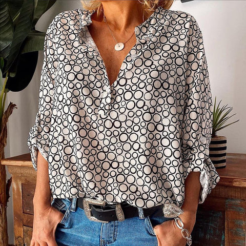 Casual Print Long Sleeve V-Neck Top-White-S-