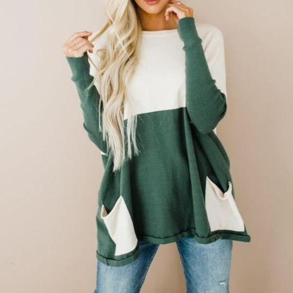 Casual Round Neck Long Sleeve Loose Color Block Sweatshirt-Green-S-