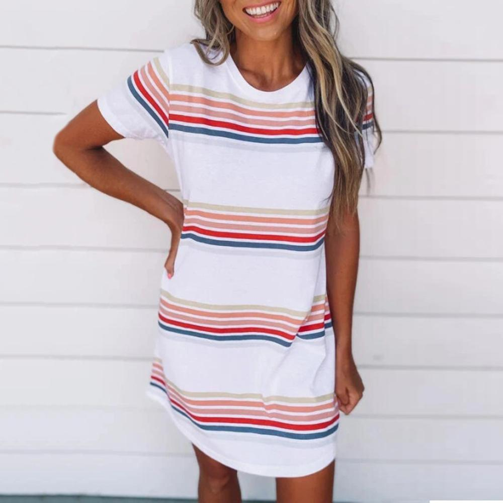 Casual Round Neck Short Sleeve Striped Dress-White-S-