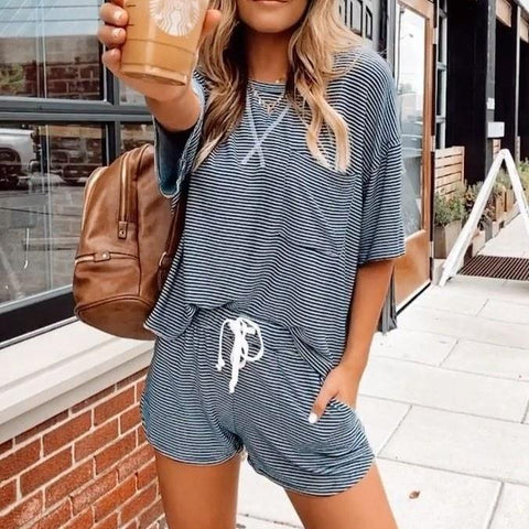 Casual Round Neck Striped T-Shirt And Drawstring Loose Shorts Set-Blue-S-
