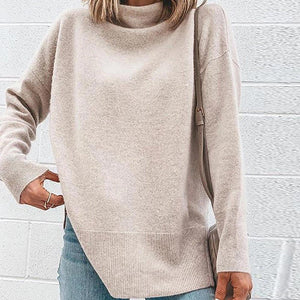 Casual Solid Color Turtleneck Long Sleeve Sweater-APRICOT-S-