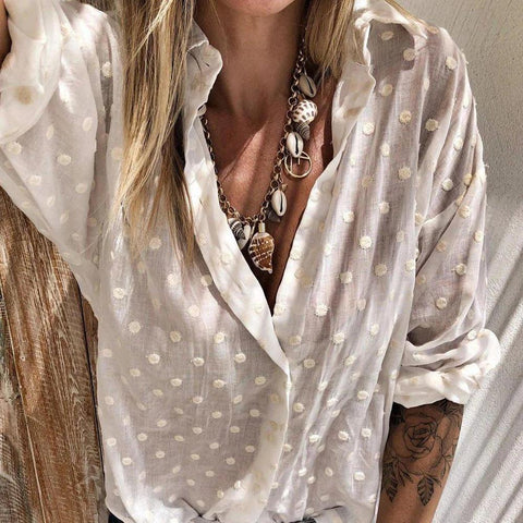 Casual Solid Color V-Neck Long Sleeve Loose Blouse-APRICOT-S-