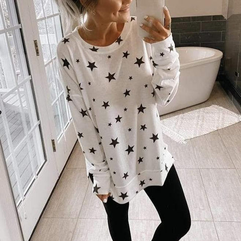 Casual Star Printed Long Sleeve Tee-White-S-