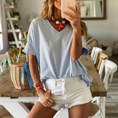 Casual Striped Short Sleeve Tee-Blue-S-