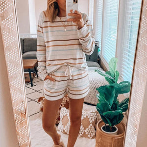 Casual Striped Sweatshirt And Drawstring Lounge Shorts Set-White-S-