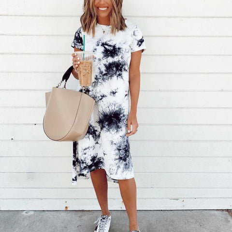 Casual Tie-Dye Short Sleeve Midi Dress-Black-S-