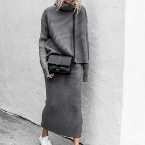 Casual Turtle Neck Long Sleeve Plain Two-Piece Sweater Dress-GREY-S-