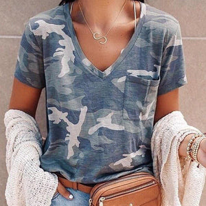 Casual V-Neck Camouflage T-Shirt-Camouflage-S-