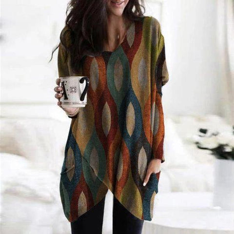 Casual V-Neck Long Sleeve Printed Tee-Multicolor-S-