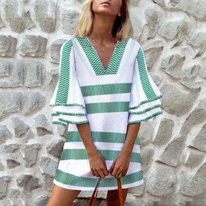 Check In and Check Out Striped Mini Dress-GREEN-S-