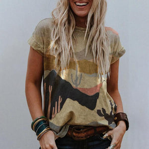 Chic Abstract Printed T-Shirt-Multicolor-S-