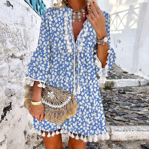 Chic Blue Printed V-Neck Loose Tassel Dress-Blue-S-