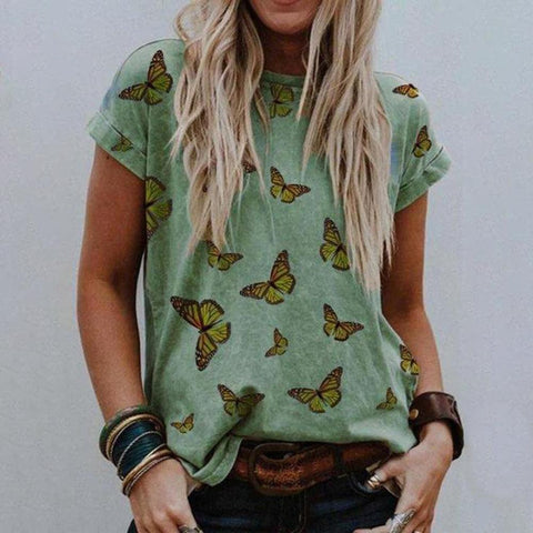 Chic Butterfly Printed Round Neck T-Shirt-Green-S-