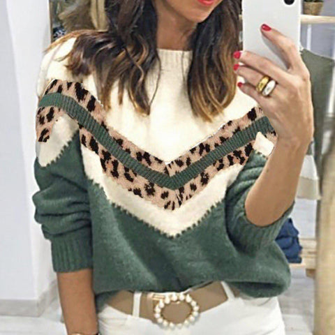 Chic Color Block Leopard Print Sweater-Green-S-