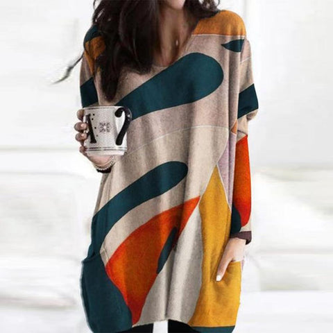 Chic Color Block Long Sleeve Top-Multicolor-S-