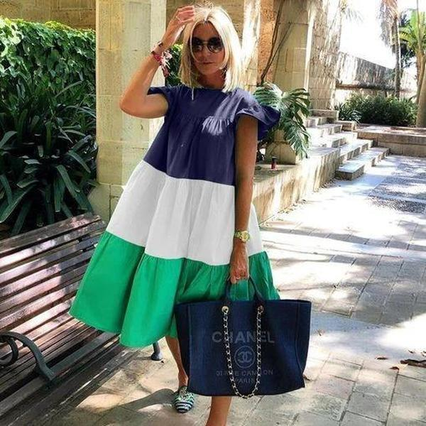 Chic Color Stitching Short Sleeve Midi Dress-MULTICOLOR-S-