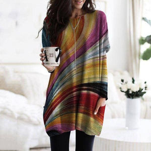 Chic Colorful Printed Round Neck Long Sleeve Top-Multicolor-S-
