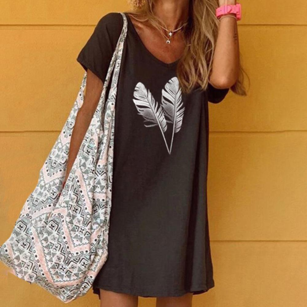 Chic Feather Printed V-Neck Casual Mini Dress-Black-S-