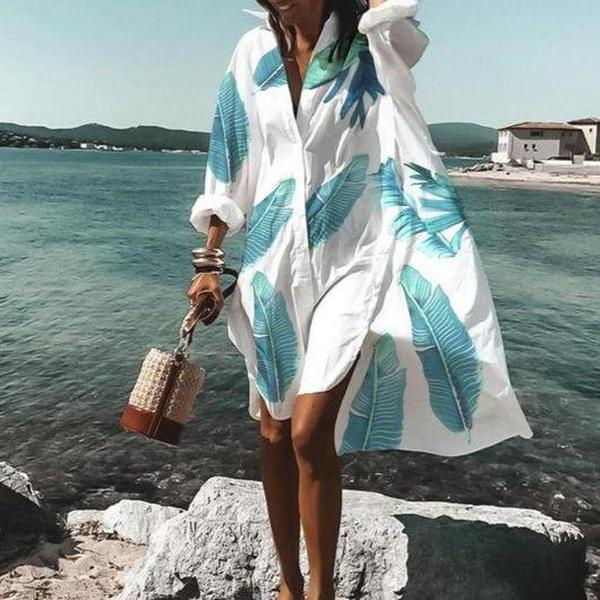 Chic Feather Printed V-Neck Long Sleeve Loose Mini Dress-White-S-