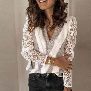 Chic Hollow Out Long Sleeve V-Neck Sweater-Grey and White-S-