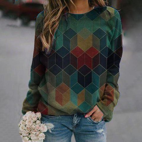 Chic Long Sleeve Geometric Printed Sweatshirt-Green-S-