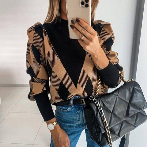 Chic Long Sleeve Printed Sweater-Black-S-
