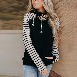 Chic Long Sleeve Sweatshirt & Hoodie-Black-S-