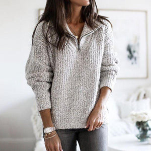 Chic Plain Zipper Long Sleeve Sweater-Grey-S-