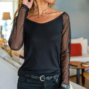 Chic Polka Dot Print Sheer Long Sleeve Top-Black-S-