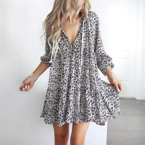 Chic Print Long Sleeve Mini Dress-Black and White-S-