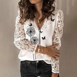 Chic Print Zipper V-Neck Lace Sleeve Sweater-White-S-