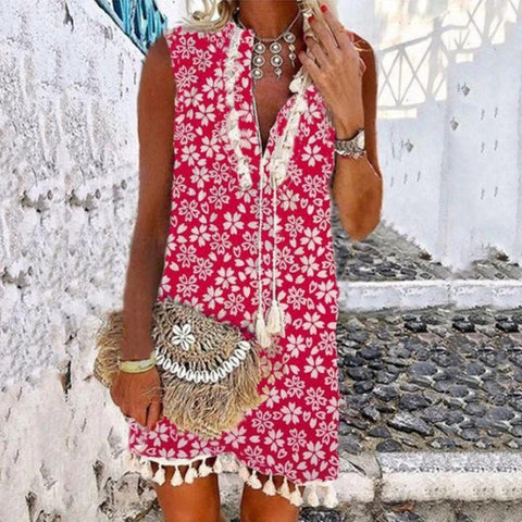 Chic Red Floral V-Neck Sleeveless Vacation Dress-Red-S-