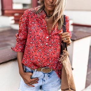 Chic Red Printed V-Neck Casual Vacation Blouse-Red-S-
