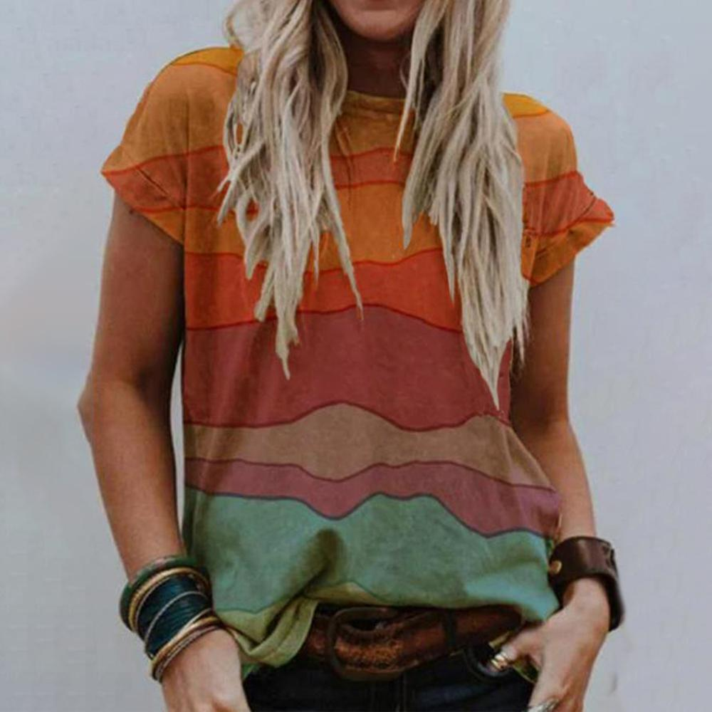 Chic Round Neck Color Block T-Shirt-Multicolor-S-