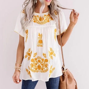 Chic Round Neck Printed Outdoor T-Shirt-White-S-