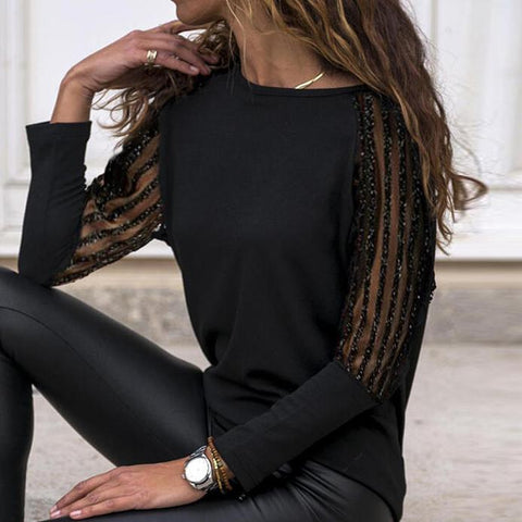 Chic Round Neck Sheer Long Sleeve Top-Black-S-