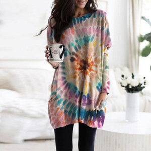 Chic Round Neck Tie Dye Top-Multicolor-S-