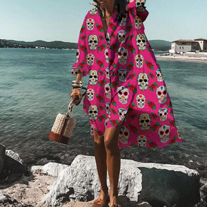 Chic Skull Print Long Sleeve High Low Dress-Rose Red-S-