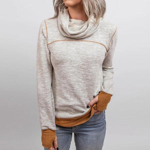 Chic Turtleneck Color Block Thumb-Hole Cuff Long Sleeve Top-Grey-S-